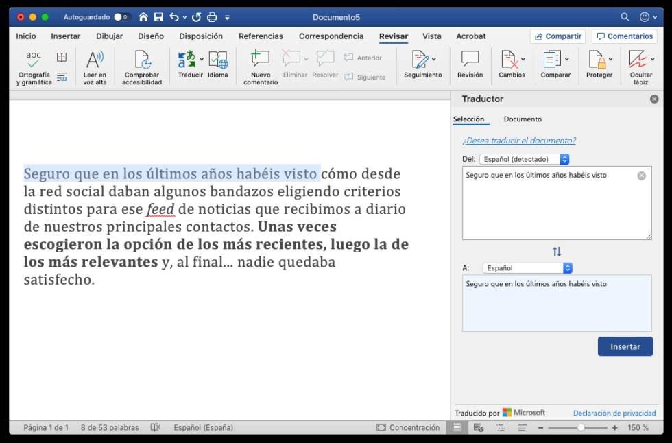 Traducción en Microsoft Word.