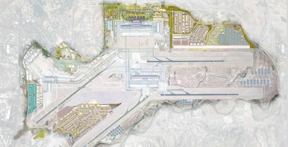A la izquierda, en azul, la zona de la primera fase del polo logístico del Aeropuerto de Barajas.